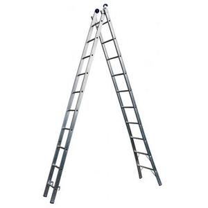 Escada Extensiva de Alumínio DUPLA  2 x 10 Degraus