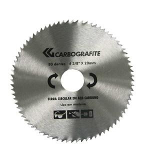 Disco serra circular 4-3/8 20mm 80 Dentes - CARBOGRAFITE