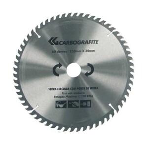 Disco serra circular 250mm x 30mm 60 Dentes 5.500 RPM - CARBOGRAFITE