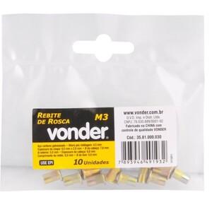 Rebite de  rosca M3 p/ rebitador manual de rosca C/ 10 UN. -  VONDER