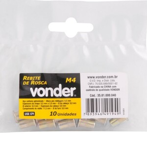 Rebite de  rosca M4 p/ rebitador manual de rosca C/ 10 UN. -  VONDER