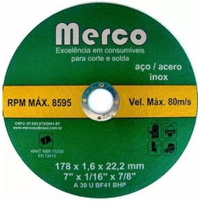 DISCO DE CORTE 7 X 1,6MM MERCO